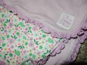 30x30 Carter's Purple Stripe Floral TURTLES Receiving Swaddle Baby Crib blanket