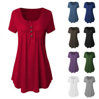 Fashion Women Pleated Short Sleeve V-Neck Shirt Summer Casual Loose Blouse Tops