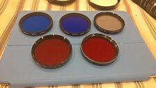 Lot of 5 Lens Filter: Hoya 49mm 80B BLUE, 80A BLUE, KENKO, VIVITAR with cases