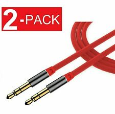 2 Pack 3.5mm Male to Male Aux Cable Cord Car Audio Headphone Jack Red