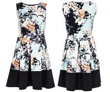 Quiz Oriental Floral Print Fit & Flare Skater Dress Contrast Panel Hem Size 10