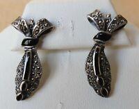 Vintage Sterling Silver Bow Dangle Onyx Marcasite Pierced Earrings Edwardian