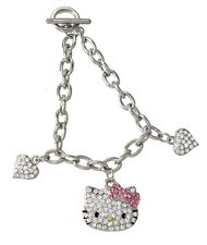 "Hello Kitty Heart charm bracelet Silver Tone Pave Crystals 7"" Long"