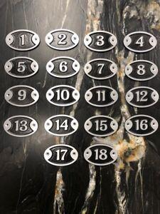 "Aluminum Golf Hole Markers Complete Set ""1 through 18"""