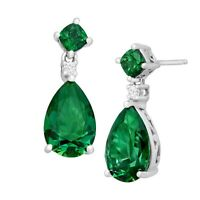 Drop Earrings with 11 ct Green Swarovski Zirconia in Sterling Silver