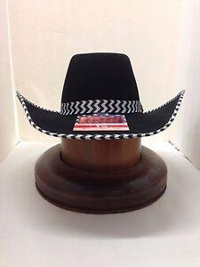 Wrangler 4X CYANIDE BLACK 100% FELT WOOL With Free Hat Brush!!