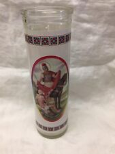 "San Martin Caballero  7"" Glass Candle New"