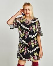 Zara Woman Embroidered Floral Tulle Dress Size L NWT