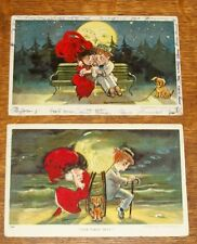 1907 JULIUS BIEN POSTCARD DAPPER DAN SAD EYES FULL MOON LOVER SWEETHEART CARTOON