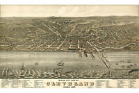 Map of Cleveland, Ohio, 1877; Antique Map; Birdseye View Map; Custom Printed