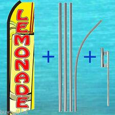 Lemonade Yel Flutter Feather Flag +15' Tall Pole + Mount Kit Swooper Bow Banner