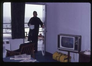 Woman in Motel Room Ice Bucket Television Screen On Vintage 1972 Slide Photo