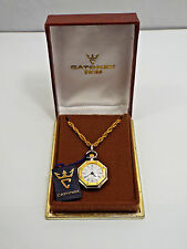 Vtg Catorex Two Tone 18K Gold Plate & Stainless Steel Watch Pendant on Chain,box