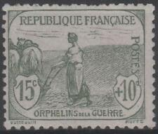 "FRANCE STAMP TIMBRE N° 150 "" ORPHELIN GUERRE 15c + 10c GRIS-VERT "" NEUF xx TTB"