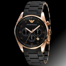 LUXURY EMPORIO ARMANI AR5905 BLACK DIAL STRAP CHRONOGRAPH MENS WATCH GIFT
