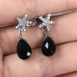 925 Sterling Silver Cubic Zirconia Star Fish Faceted Agate Dangle Drop Earrings