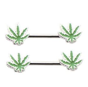 Pair Of Marijuana Weed Nipplerings Body Jewelry Piercing Nipple Barbell TK15-11