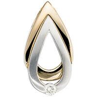 Anhänger mit Diamant Brillant, 585 Gold, Gelbgold & Weißgold, Halsschmuck, Damen