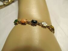 "Gold multi stone bracelet- jade, coral,  tiger eye, opal, hematite sz8"" & below"