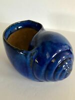 "6"" x 4"" Bright Blue Ceramic Nautilus Snail Shell Pottery Vintage"