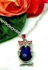 """Blue Lapis Lazuli Owl Pendant Necklace Silver Plated 20"""" Chain Free Organza Bag!"""