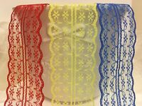 Floral Net Lace Trimming Bilateral Scallop Edge 45mm Wide ribbon red yellow blue