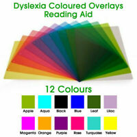 1 x A4, Reading Aid Coloured Overlays For Dyslexia & Irlem Syndrome,(12 colours)