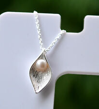 """Sterling Silver 925 Genuine 3mm Fresh Water Pearl In Leaf Necklace 16-17.5"""""""