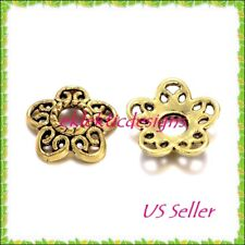 10pcs 12mm Antique Gold Plated Tibetan 5 Petal Daisy Flower Bead Caps FREE SHIP