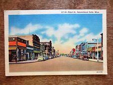 1940s Third Street View International Falls Linen Postcard MN Vintage Cars Autos