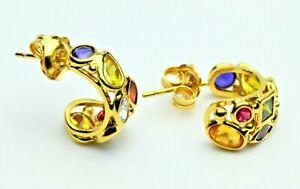 18K Yellow Gold Multicolor Stones Huggie Earrings w/Push Backs ITALY
