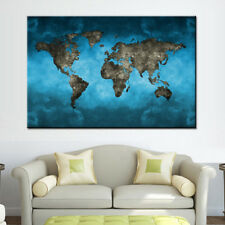 Framed World Map Wall Art Blue Modern Abstract Global Map Canvas Print Large