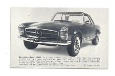 MERCEDES BENZ 230SL Sports Car Vtg Arcade Exhibit Card