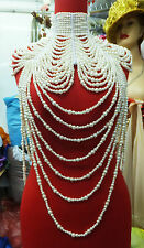 Da NeeNa J002 Showgirl Cabaret Pageant Vegas Drag Bead Pearl Necklace Choker