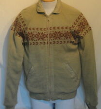 Vintage Reversible Jacket Knit Snowflakes Khaki Cotton Counter Action C42 Large