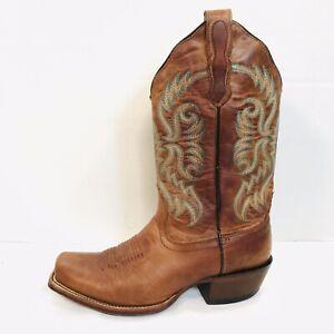 Nocona Bluebonnet Brown Leather Square Toe Boots #L5009 Women's 6 1/2