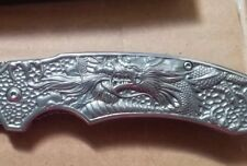 "8.5"" Silver Titanium Dragon Etch Spring Assisted Tactical Pocket Knife Folding"