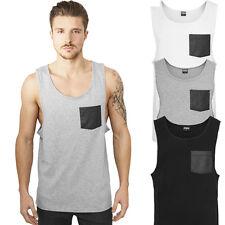 Urban Classics Leather Imitation Pocket Loose Tank Tanktop Muscle Shirt Fitness