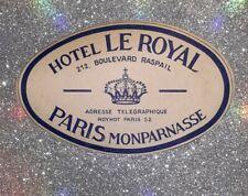 Hotel Le Royal Paris France Vintage Luggage Label
