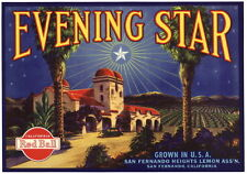 EVENING STAR~SAN FERNANDO CALIFORNIA MISSION~ORIGINAL 1930s LEMON CRATE LABEL