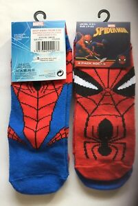 2 pack Boys Ankle Socks with Spiderman detail