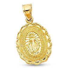 Milagrosa Medallion Pendant 14k Yellow Gold Christian Charm Religious Solid