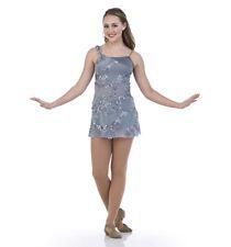 Gray Child Medium Destiny Lyrical Ballet Dance Costume Dress over Shorts