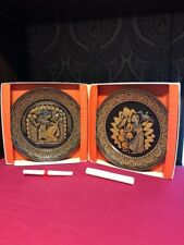 2 x Denby Egyptian Limited Edition Plates Boxed Kings Fisherman Queens Hand