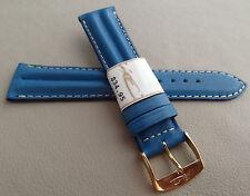 ZRC Francia Imbottito Blu Impermeabile 20mm Cinturino Orologio Color Oro Fibbia
