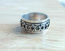 Sterling Silver Star Of David Rotating Band Ring ~ Sz 9 ~ 8.5 grams ~ 2-E4060