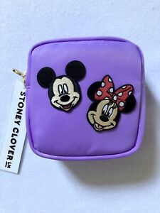 "NWT Stoney Clover Acai Mini Pouch w/ 2"" Mickey and 2"" Minnie Patches"