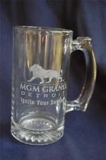 "MGM Grand Detroit Glass Beer Mug Hotel & Casino ""Ignite Your Senses"" Lion Logo"