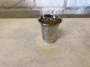 Vintage Antique Russian 875 Silver Jigger Shot Glass w/ Engraved Decoration