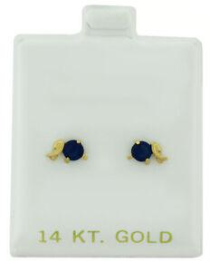 BLUE SAPPHIRE 0.56 Cts STUD EARRINGS 14k YELLOW GOLD * Screw BackS * NWT